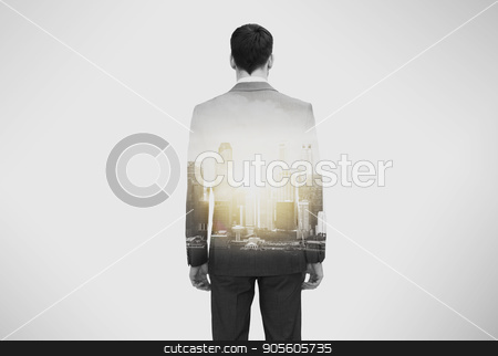 close up of businessman in suit from back stock photo, business and people concept - close up of businessman in suit from back over city buildings and double exposure effect by Syda Productions