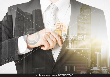 close up of businessman with euro money stock photo, business, finances and people concept - close up of businessman with euro money over city with double exposure by Syda Productions