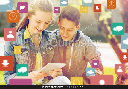 happy friends with tablet pc outdoors stock photo, technology and people concept - happy teenage friends or students with tablet pc computer and menu icons outdoors by Syda Productions