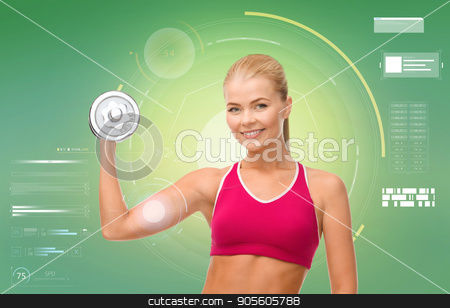 happy sporty woman with dumbbell flexing biceps stock photo, sport, fitness, exercising, technology and people concept - happy young sporty woman with dumbbell flexing biceps over green background by Syda Productions