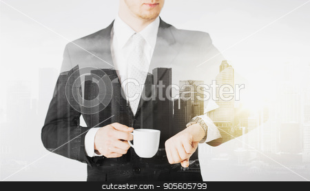 close up of businessman with wristwatch and coffee stock photo, people, business and time concept - close up of businessman with wristwatch and coffee over city with double exposure by Syda Productions