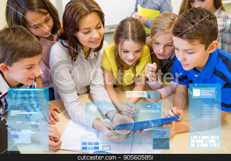 group of kids with teacher and tablet pc at school stock photo, education, elementary school, learning, technology and people concept - group of kids with teacher looking to tablet pc computer in classroom over virtual screens projections by Syda Productions