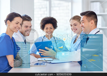 group of happy doctors meeting at hospital office stock photo, hospital, profession, people and medicine concept - group of happy doctors with tablet pc computers meeting at medical office by Syda Productions