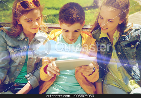 students or friends with tablet pc outdoors stock photo, cloud computing, technology and people concept - group of happy teenage students or friends with tablet pc computers outdoors by Syda Productions