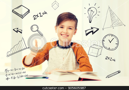 happy student boy with textbook showing thumbs up stock photo, education, childhood, people and school concept - happy student boy with textbook and notebook showing thumbs up at home over mathematical doodles by Syda Productions