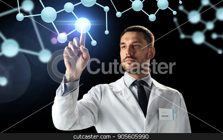 doctor or scientist in white coat with molecules stock photo, science, biology and people concept - doctor or scientist in white coat with molecules over black background by Syda Productions