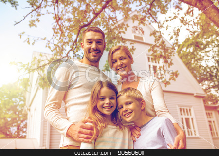 happy family in front of house outdoors stock photo, family, happiness, generation, home and people concept - happy family standing in front of house outdoors by Syda Productions