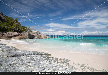 island beach in indian ocean on seychelles stock photo, travel, seascape and nature concept - island beach in indian ocean on seychelles by Syda Productions