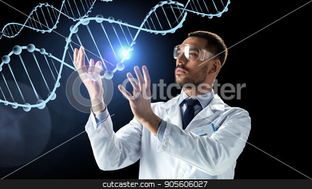 scientist in lab coat and safety glasses with dna stock photo, science, genetics and people concept - male doctor or scientist in white coat and safety glasses with dna molecule projection over black background by Syda Productions