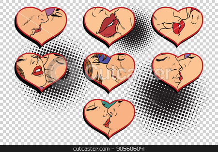 Set kissing love isolated background stock vector clipart, Set kissing love isolated background. Comic cartoon vintage pop art retro vector illustration by rogistok