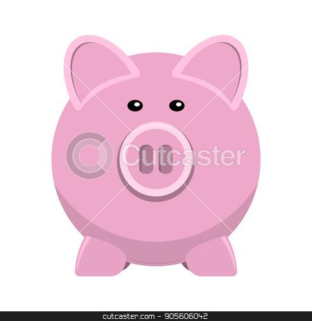 vector icon of pig bank stock vector clipart, vector icon of pig bank, save money in piggy bank flat illustration by Rokvel