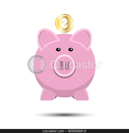 vector icon of pig bank stock vector clipart, Pig and gold coins isolated on white background. Piggy bank with falling coins in flat design. Gold dollar coin - vector illustration by Rokvel