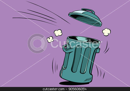 Street trash, ecology and waste management stock vector clipart, Street trash, ecology and waste management. Comic book cartoon pop art retro color vector illustration hand drawn by rogistok