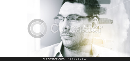 portrait of businessman in eyeglasses at office stock photo, business, vision and people concept - portrait of businessman in eyeglasses at office over city buildings and double exposure effect by Syda Productions