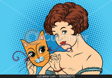 Beautiful lady with mask cats stock vector clipart, Beautiful lady with mask cats. Cartoon comic illustration pop art retro style vector by rogistok
