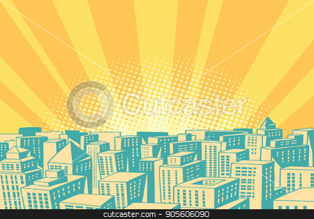 Pop art sunrise over the modern city stock vector clipart, Pop art sunrise over the modern city. Comic book cartoon retro colored drawing vintage illustration by rogistok
