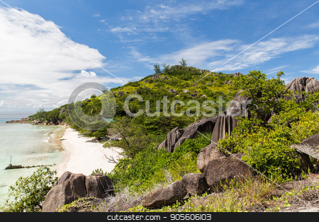 island beach in indian ocean on seychelles stock photo, travel, landscape and nature concept - island beach in indian ocean on seychelles by Syda Productions