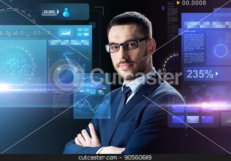 businessman in glasses over black stock photo, business, people and technology concept - businessman in glasses over black background with virtual screens by Syda Productions