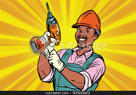 Construction African American worker with the drill stock vector clipart, Construction worker with the repair tool drill. African American people. Comic book cartoon pop art retro colored drawing vintage illustration by rogistok