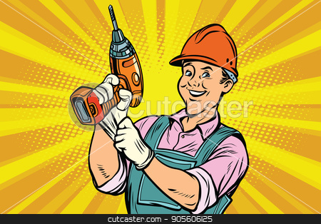 Construction worker with the repair tool drill stock vector clipart, Construction worker with the repair tool drill. Comic book cartoon pop art retro colored drawing vintage illustration by rogistok