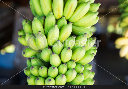 bunch of green bananas at street market stock photo, fruit, sale and food concept - bunch of green bananas at street market by Syda Productions