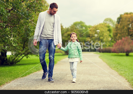 happy family walking in summer park stock photo, family, parenthood, fatherhood, adoption and people concept - happy father and little girl walking in summer park by Syda Productions