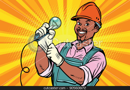 Construction worker with  light bul stock vector clipart, Construction worker with the repair tool  light bulb. African American people. Comic book cartoon pop art retro colored drawing vintage illustratio by rogistok