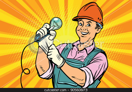 Construction worker with light bulb stock vector clipart, Construction worker with the repair tool light bulb. Comic book cartoon pop art retro colored drawing vintage illustration by rogistok