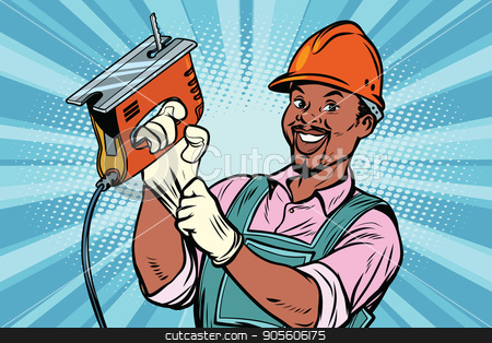 Construction worker with jigsaw stock vector clipart, Construction worker with the repair tool jigsaw. African American people. Comic book cartoon pop art retro colored drawing vintage illustration by rogistok