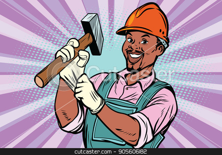 Construction worker with hammer stock vector clipart, Construction worker with the repair tool hammer. African American people. Comic book cartoon pop art retro colored drawing vintage illustration by rogistok