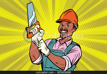 Construction worker with saw stock vector clipart, Construction worker with the repair tool saw. African American people. Comic book cartoon pop art retro colored drawing vintage illustration by rogistok