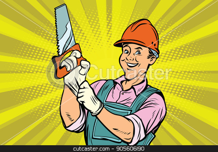 Construction worker with saw stock vector clipart, Construction worker with the repair tool saw. Comic book cartoon pop art retro colored drawing vintage illustration by rogistok