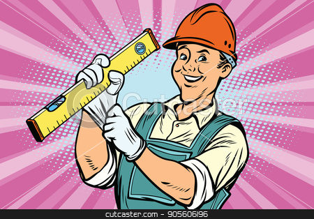 Construction worker with level stock vector clipart, Construction worker with the repair tool level. Comic book cartoon pop art retro colored drawing vintage illustration by rogistok