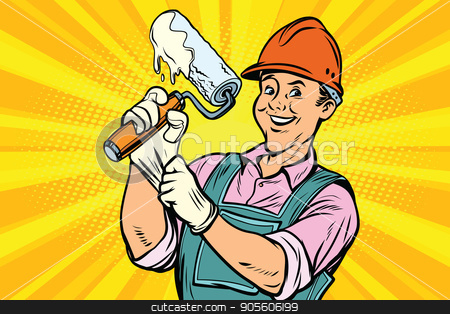 Construction worker with roller for paint stock vector clipart, Construction worker with the repair tool roller for paint. Comic book cartoon pop art retro colored drawing vintage illustration by rogistok