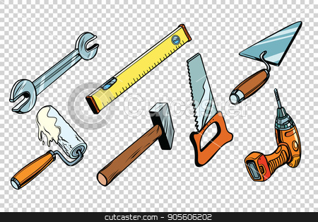 Set repair tools, isolated background stock vector clipart, Set repair tools, isolated background. wrench paint roller saw hammer drill level trowel. Comic book cartoon pop art retro colored drawing vintage illustration by rogistok