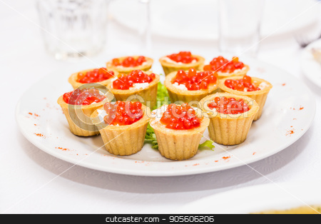 Tartlets with red caviar. Protein healthy food stock photo, Tartlets with red caviar. Protein healthy food by Satura86