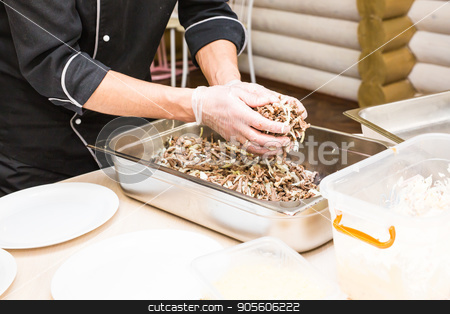 Close-up of chef cooking food kitchen restaurant cutting cook hands hotel man male knife preparation fresh preparing concept stock photo, chef cooking food kitchen restaurant cutting cook hands hotel man male knife preparation fresh preparing concept by Satura86