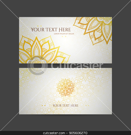 Set of vector design templates. Business card with floral circle ornament. Mandala style. stock vector clipart, Set of vector design templates. Business card with floral circle ornament. Mandala style. Luxury Gold by Drekhann