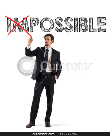 Change impossible to possible stock photo, Concept of change impossible to possible with businessman with a red pen by Federico Caputo