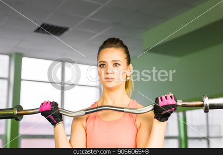 fitness, sport, powerlifting and people concept - sporty woman exercising with barbell in gym stock photo, fitness, sport, powerlifting and people concept - sporty woman exercising with barbell in gym by Satura86
