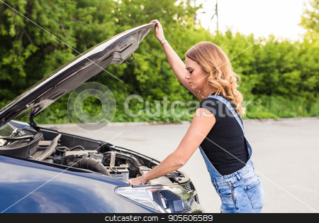 Broken car, accident and people concept - Woman open the car hood and broken automobile on the side stock photo, Broken car, accident and people concept - Woman open the car hood and broken automobile on the side by Satura86