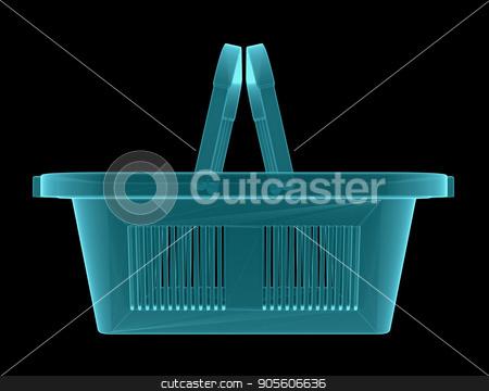 X-Ray Image of empty shopping basket stock photo, X-Ray Image of empty shopping basket. 3D illustration by cherezoff