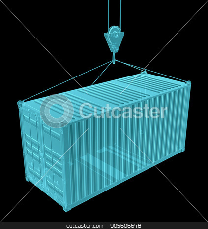 Shipping container with hook. X-ray image stock photo, Shipping container with hook. X-ray image, isolated on black. 3D Illustration by cherezoff
