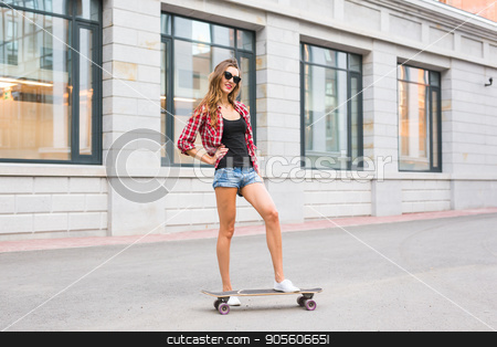 Beautiful young woman in sunglasses with skate, street fashion lifestyle stock photo, Beautiful young woman in sunglasses with skate, street fashion lifestyle by Satura86