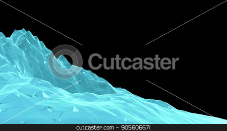 Digital Abstract Wireframe Landscape Background stock photo, Digital Abstract Wireframe Landscape Background. 3D Illustration for your design by cherezoff