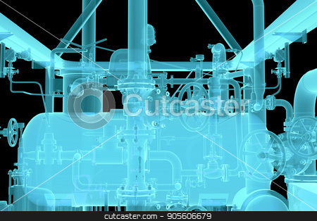 X-Ray Image of Industrial equipment stock photo, X-Ray Image of Industrial equipment. Black background. 3d rendering by cherezoff