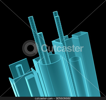 X-Ray Image Of Metal Products stock photo, X-Ray Image Of Metal Products. Isolated on Black. 3D Illustration by cherezoff