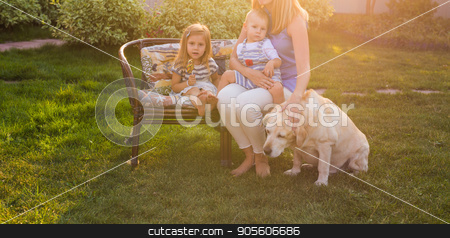 family, pet, domestic animal and people concept - happy family with labrador retriever dog summer garden stock photo, family, pet, domestic animal and people concept - happy family with labrador retriever dog summer garden by Satura86
