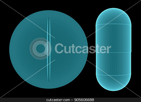 X-Ray Image Of Pill stock photo, X-Ray Image Of Pill. 3D rendering on black background by cherezoff