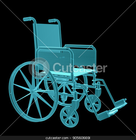 X-Ray Image Of Wheelchair stock photo, X-Ray Image Of Wheelchair. Isolated on black background by cherezoff
